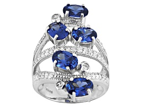 Blue And White Cubic Zirconia Silver Ring 7.17ctw
