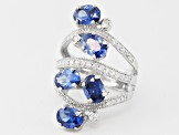 Blue And White Cubic Zirconia Rhodium Over Sterling Silver Ring 7.17ctw
