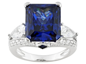 Blue And White Cubic Zirconia And Lab Created Sapphire Sterling Silver Ring 11.93ctw