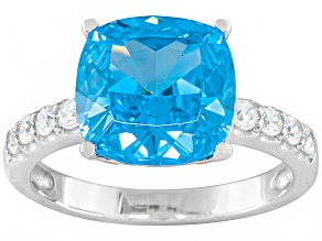 Blue And White Cubic Zirconia Rhodium Over Sterling Silver Ring 8.58ctw