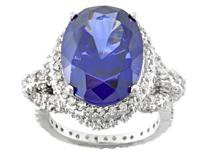 Blue And White Cubic Zirconia Silver Ring 18.08ctw