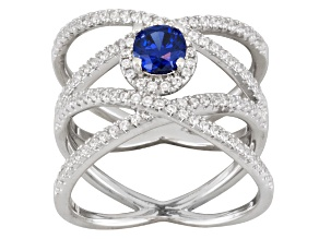 Blue And White Cubic Zirconia Silver Ring 1.93ctw
