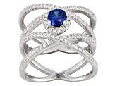 Blue And White Cubic Zirconia Rhodium Over Sterling Silver Ring 1.93ctw