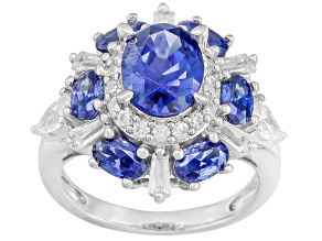 Blue Cubic Zirconia Rhodium Over Sterling Silver Ring 6.69ctw