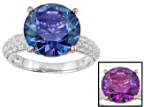Alexandrite Color And White Cubic Zirconia Sterling Silver Ring 9.30ctw