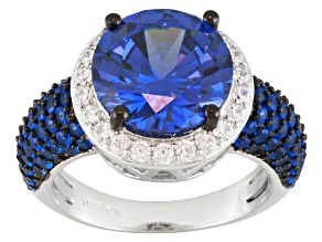 Blue And White Cubic Zirconia And Synthetic Sapphire Silver Ring 8.23ctw