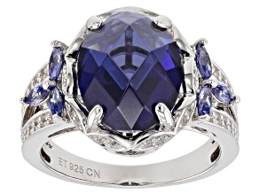 Blue And White Cubic Zirconia Rhodium Over Silver Ring 8.40ctw