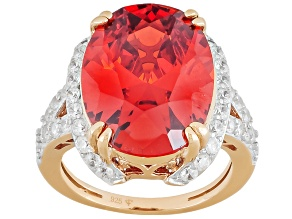 Orange And White Cubic Zirconia 18k Rose Gold Over Silver Ring 23.69ctw