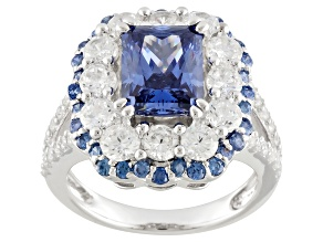 Blue And White Cubic Zirconia Silver Ring 8.62ctw