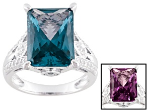 Alexandrite Color And White Cubic Zirconia Silver Ring 10.08ctw