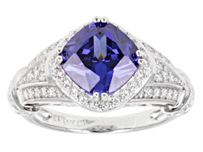 Blue And White Cubic Zirconia Silver Ring 6.78ctw