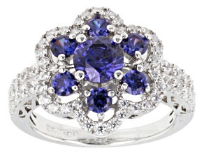 Blue And White Cubic Zirconia Silver Ring 3.50ctw