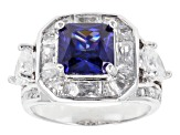Blue And White Cubic Zirconia Silver Ring 10.36ctw