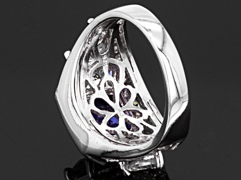 Blue And White Cubic Zirconia Rhodium Over Sterling Silver Ring 10.36ctw
