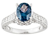 Synthetic Sapphire And White Cubic Zirconia Silver Ring 3.71ctw