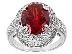 Orange And White Cubic Zirconia Silver Ring 9.33ctw