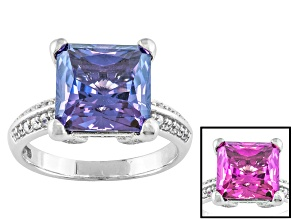 Synthetic Sapphire And White Cubic Zirconia Silver Ring 6.53ctw
