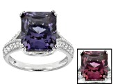Synthetic Sapphire And White Cubic Zirconia Silver Ring 7.45ctw