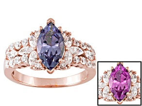 Alexandrite Simulant And White Cubic Zirconia 18k Rose Gold Over Silver Ring 3.61ctw