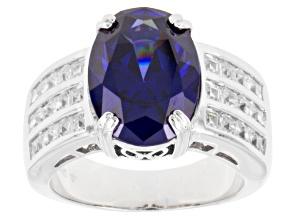 Blue And White Cubic Zirconia Rhodium Over Sterling Silver Ring 10.13ctw