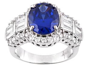Blue And White Cubic Zirconia Silver Ring 9.20ctw