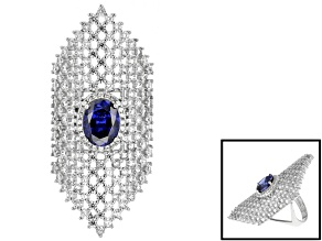 Blue And White Cubic Zirconia Silver Ring 8.34ctw