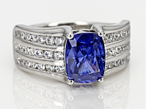 Blue And White Cubic Zirconia Silver Ring 4.77ctw