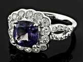 Synthetic Sapphire And White Cubic Zirconia Silver Ring 4.42ctw