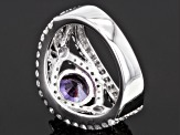 Synthetic Sapphire And White Cubic Zirconia Silver Ring 5.17ctw