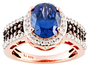 Blue, Brown And White Cubic Zirconia 18k Rose Gold Over Silver Ring 5.54ctw