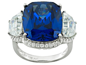 Blue And White Cubic Zirconia Silver Ring 19.23ctw