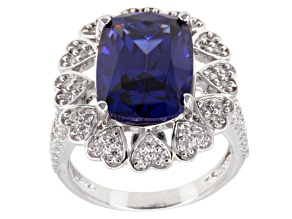 Blue And White Cubic Zirconia Silver Ring 11.62ctw