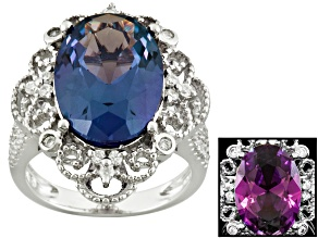 Purple And White Cubic Zirconia Silver Ring 6.31ctw