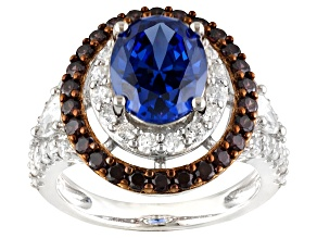 Blue, Brown And White Cubic Zirconia Silver Ring  7.29ctw