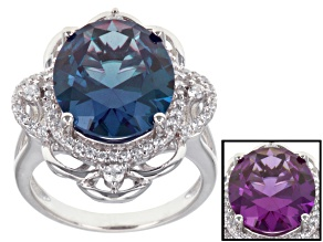 Purple Lab Created Sapphire And White Cubic Zirconia Rhodium Over Sterling Silver Ring 8.79ctw