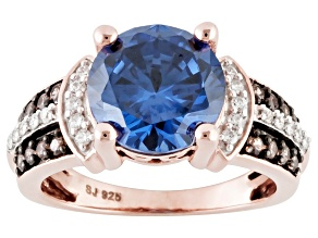 Blue, Brown And White Cubic Zirconia 18l Rose Gold Over Silver Ring 7.00ctw