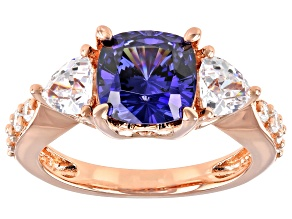 Blue And White Cubic Zirconia 18k Rose Gold Over Silver Ring 5.83ctw