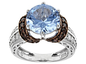 Blue, White And Brown Cubic Zirconia Sterling Silver Ring 4.93ctw