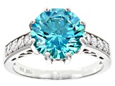 Blue And White Cubic Zirconia Rhodium Over Sterling Silver Ring 7.06ctw