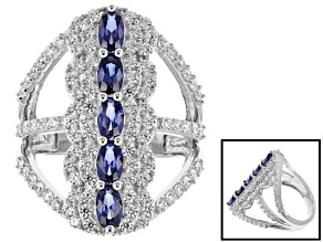 Blue And White Cubic Zirconia Silver Ring 4.3ctw
