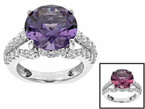 Synthetic Sapphire And White Cubic Zirconia Rhodium Over Silver Ring 8.08ctw