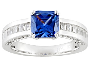 Blue And White Cubic Zirconia Silver Ring 3.17ctw