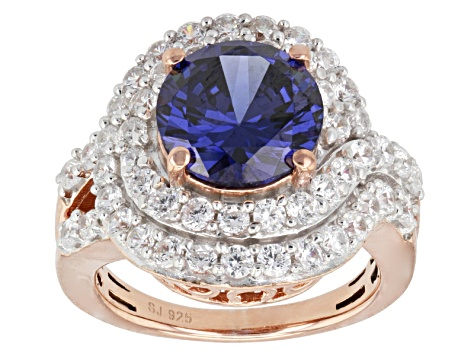 Blue And White Cubic Zirconia 18k Rose Gold Over Silver Ring 9.51ctw ... f423c90b4c97