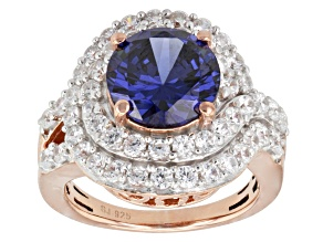 Blue And White Cubic Zirconia 18k Rose Gold Over Silver Ring 9.51ctw