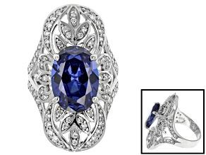 Blue And White Cubic Zirconia Rhodium Over Sterling Silver Ring 11.20ctw