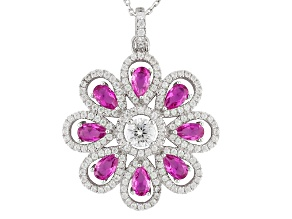 Pink And White Cubic Zirconia Rhodium Over Sterling Silver Pendant With Chain 5.27ctw