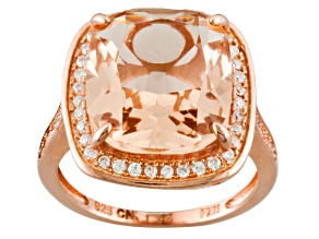 Morganite Simulant And White Cubic Zirconia 18k Rose Gold Over Silver Ring 3.50ctw