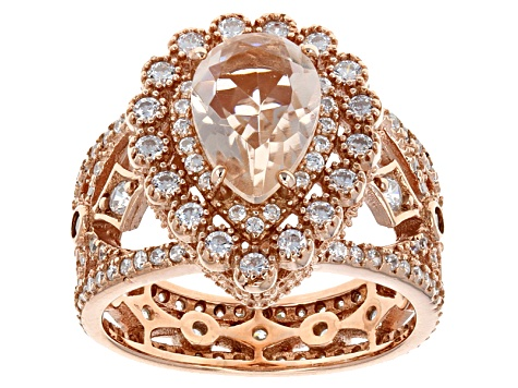 Pink Morganite Simulant  And White Cubic Zirconia 18k Rose Gold Over Silver Ring 4.27ctw