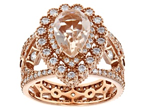 Morganite Simulant  And White Cubic Zirconia 18k Rose Gold Over Silver Ring 4.27ctw