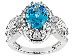 Neon Blue And White Cubic Zirconia Rhodium Over Silver Ring 6.05ctw